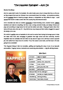 Reading Comprehension - The Happiest Refugee by Anh Do