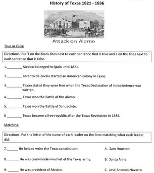 Reading Comprehension: The History of Texas 1821-1836 w/ 25 Questions