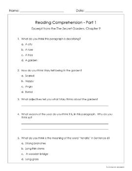 "Reading Comprehension - ""The Secret Garden"" excerpts - Grade 3-4 - CCSS"