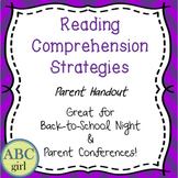 Reading Comprehension Strategies Back to School Meet the Teacher Parent Handout