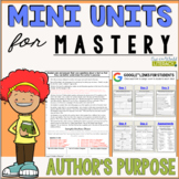 Reading Mini Unit for Mastery- Author's Purpose | Distance