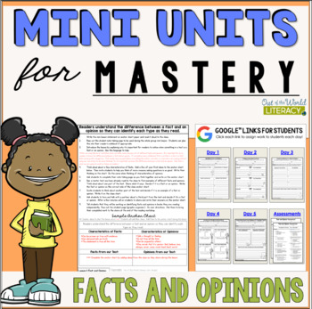 Reading Comprehension Mini Unit for Mastery- Fact and Opinion