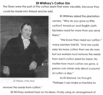 Reading Comprehension / Vocabulary Lesson ELI WHITNEY's COTTON GIN  16 Questions