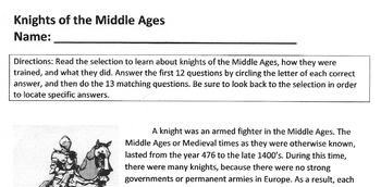 Reading Comprehension - Vocabulary Lesson KNIGHTS OF MIDDL