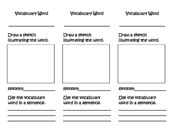 Reading Comprehension Vocabulary Trifold