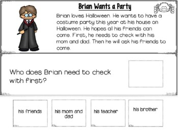 Reading Comprehension: WH Questions HALLOWEEN (Special Education)