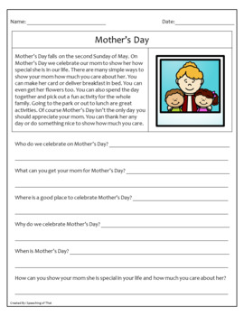 Reading Comprehension WH Questions [May]