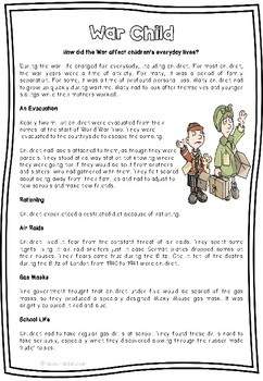 Reading Comprehension WW2 Evacuees With Skill Specific Question Sheets.