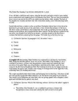 Reading Comprehension-Who Killed The Sheridans-Test Prep