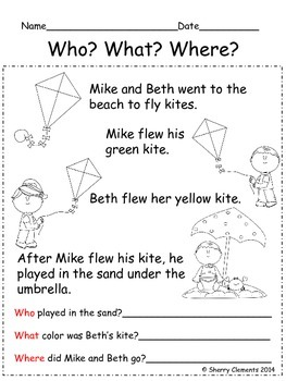 Reading Comprehension: Who? What? Where?