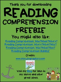 FREE DOWNLOAD : PIRATE READING COMPREHENSION FREEBIE