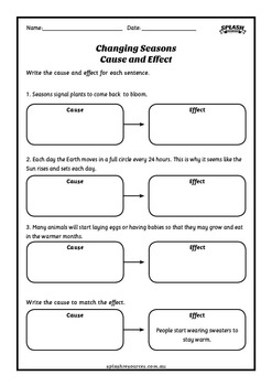 Reading Comprehension Workbook - Changing Seasons - Cause and Effect