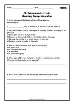 Reading Comprehension Workbook - Christmas in Australia