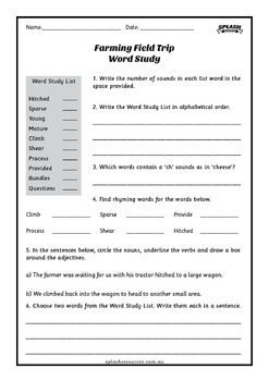 Reading Comprehension Workbook - Farming Field Trip