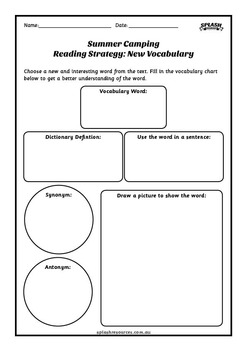 Reading Comprehension Workbook - Summer Camping
