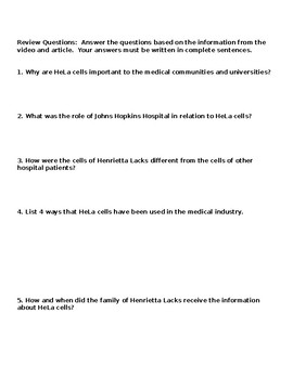 Reading Comprehension Worksheet: HeLa Cells