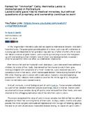 Reading Comprehension Worksheet: HeLa Cells