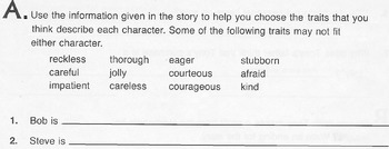 Reading Comprehension Worksheet Identify Character Traits & Make Generalizations