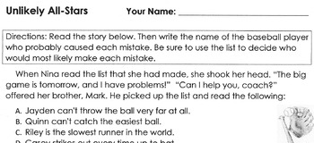 Reading Comprehension Worksheet: Sport of Baseball Theme - 6 Matching Questions