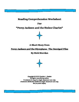 Reading Comprehension Worksheet for Percy Jackson and the Stolen Chariot