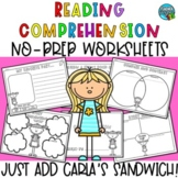 Reading Comprehension Worksheets And Activities - Carla's Sandwich