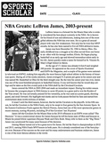 Sports Reading Comprehension Worksheets, Common Core -- BASKETBALL GREATS