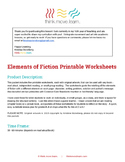 Reading Comprehension Worksheets - Elements of Fiction