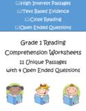 Reading Comprehension Worksheets | Grade 1 | 11 Passages w
