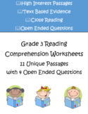 Reading Comprehension Worksheets – Grade 3 | 11 Passages w
