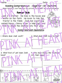 Reading Comprehension Worksheets: On the Farm