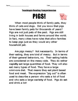 Reading Comprehension about Pigs.  Teachtopia Reading Comprehension Non-Fiction