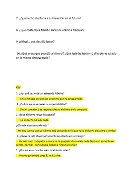 Spanish 4 Reading Comprehension  - A dilemma at  work