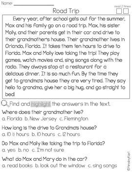 FREEBIE! Reading Comprehension and Fluency Passages- Fiction Close Reads