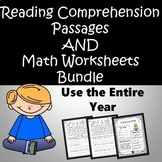 Reading Comprehension and Math Worksheets BUNDLE for the year