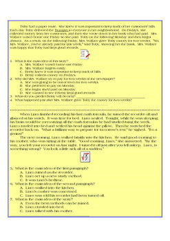 Fifth Grade Reading Comprehension and Skills Assessment