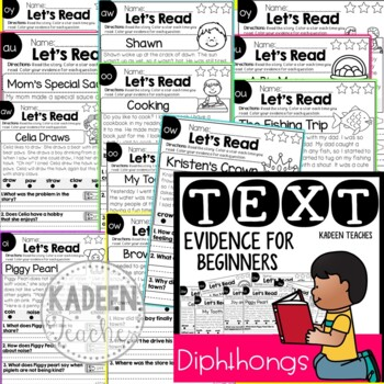 Reading Comprehension and Text Evidence with diphthongs
