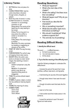 Reading  Comprehension and Vocabulary Strategies Bookmark grades 3-8