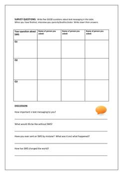 Reading Comprehension and Vocabulary Worksheet: Brief History of Text Messaging