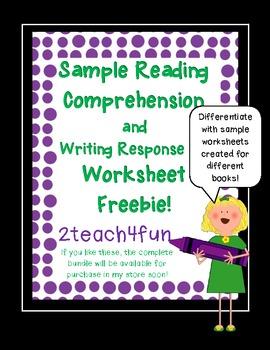 Reading Comprehension and Writing Response Worksheet *Freebie*