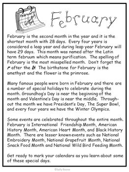 February - Reading Comprehension and Writing Review