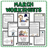 March Reading and Writing Worksheets Print and Go