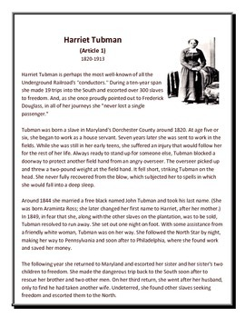reading comprehension and essay harriet tubman by mindy little reading comprehension and essay harriet tubman