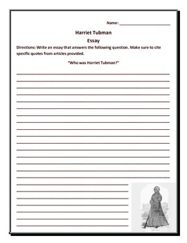 Reading Comprehension and essay - Harriet Tubman