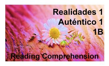 Reading Comprehension: chapter 1B in Realidades 1 & Auténtico 1