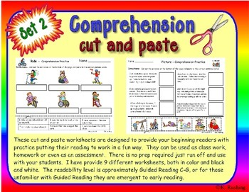 Reading Comprehension cut and paste Set 2