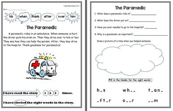 Reading Comprehension Passages and Questions for 1st Grade (Dolch sight words)
