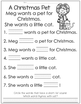 Reading Comprehension for Little Learners December Edition