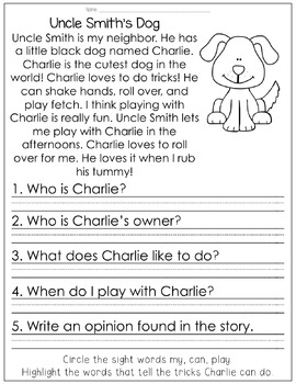 Reading Comprehension for Little Learners June Edition