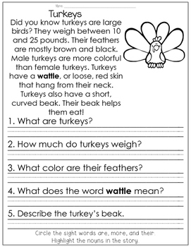 Reading Comprehension for Little Learners November Edition