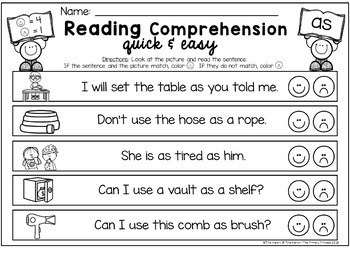 Reading Comprehension with Daubers (First Grade Edition)